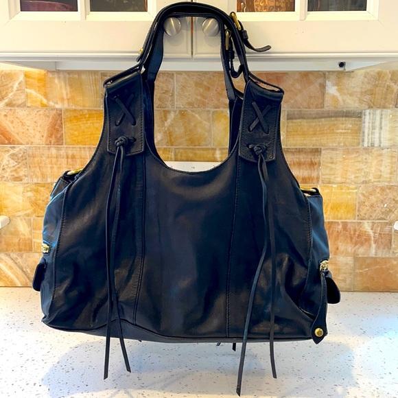 Francesco Biasa Black Soft leather fringe hobo bag